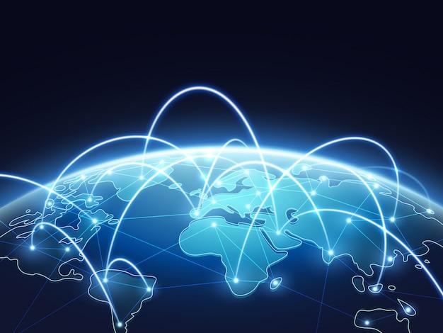 Abstraktes netzvektorkonzept mit weltkugel. internet und globaler verbindungshintergrund