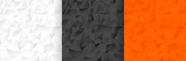 Abstraktes niedriges poly dreifarbiges hintergrundmusterset