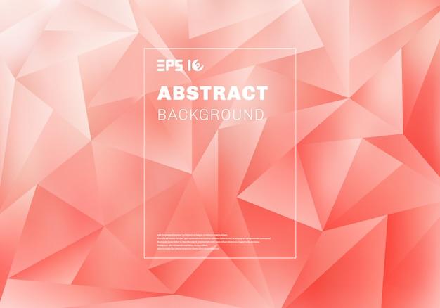 Abstraktes niedriges polygon- oder dreieckmuster auf rosa hintergrund