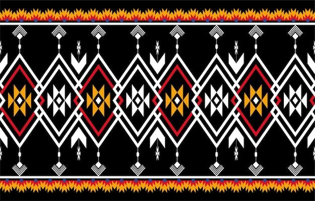 Abstraktes orange und rotes geometrisches natives muster nahtlos. wiederholter geometrischer hintergrund