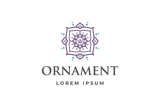 Abstraktes ornament-logo mit buchstabe w initiale