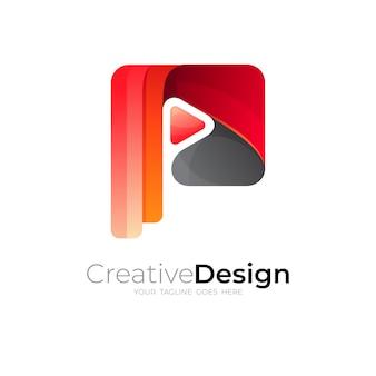 Abstraktes p-logo und play-design-vorlage, rote farbe
