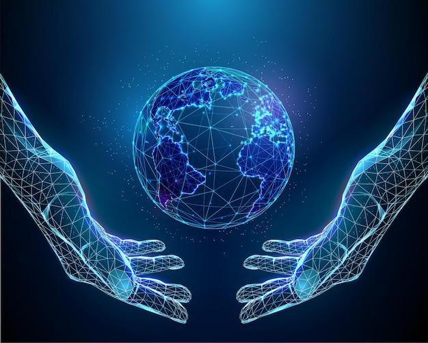 Abstraktes paar hände, die planeten erde halten