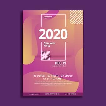 Abstraktes partyplakat des neuen jahres 2020 der schablone