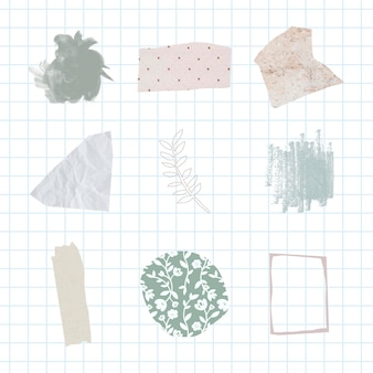 Abstraktes pastell-abzeichen-set