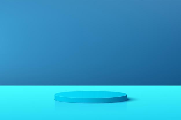 Abstraktes pastellblaues 3d-zylinderpodest mit blauer szene für die präsentation der produktpräsentation