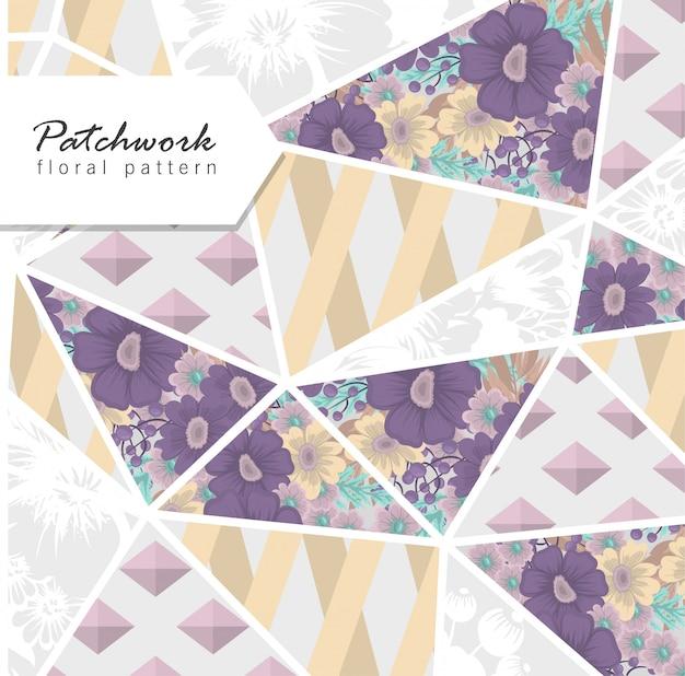 Abstraktes patchwork mit blumen