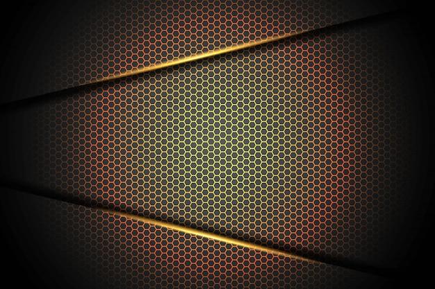 Abstraktes pfeilgelborange-lichtdreieck auf schwarz mit moderner futuristischer technologiehintergrundillustration des sechsecknetzdesigns.