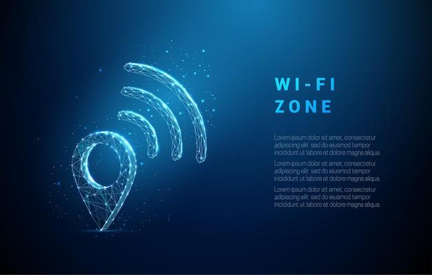 Abstraktes pin-symbol mit wi-fi-symbol low-poly-stil-design drahtloses netzwerkverbindungskonzept