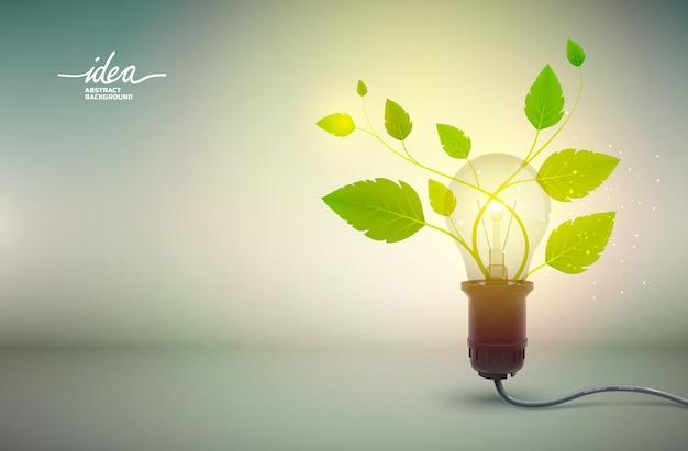 Abstraktes plakat der gelben glühbirnenidee mit elektrischer ausrüstung und grüner blüte, die von der macht wächst