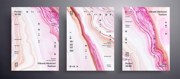 Abstraktes plakat, texturpackung der flüssigkeitsabdeckungen. Premium Vektoren