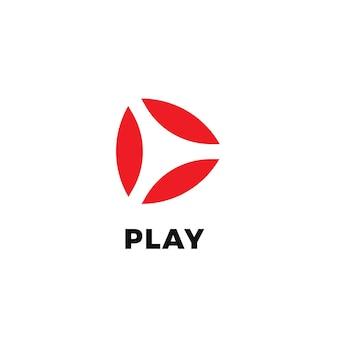 Abstraktes play-isoliertes symbol auf weißem hintergrund-video und audio-startknopf flach minimaler stil