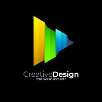 Abstraktes play-logo und technologiedesign