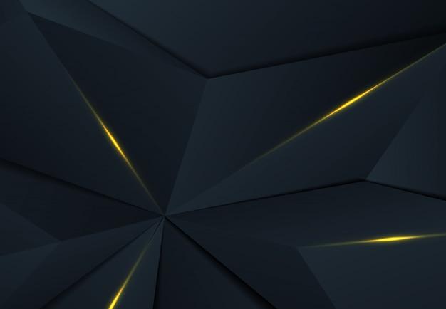 Abstraktes polygonales design des premium-blauen dreiecks mit schatten- und golddesignhintergrund.