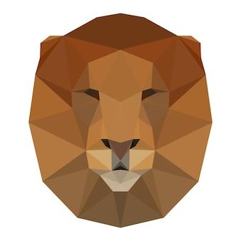 Abstraktes polygonales dreieck-löwenkopf-design für karte, einladung, t-shirt, buch, banner, poster, sammelalbum, album usw.