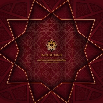 Abstraktes polygonales geometrisches muster mit goldverzierung auf rotem hintergrund