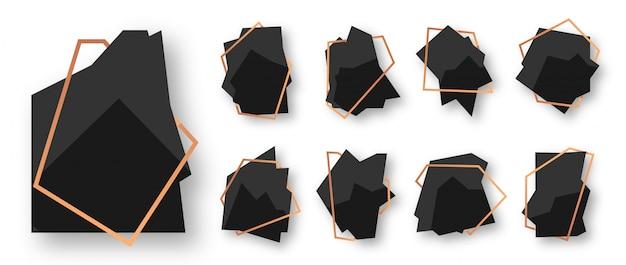 Abstraktes polygonales geometrisches schwarz mit rosengold-linienrahmensatz. leere vorlage für text. luxuriöser dekorativer moderner polyederrahmen lokalisiert auf weiß