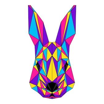 Abstraktes polygonales kaninchenporträt. moderner low-poly-kaninchenkopf einzeln auf weiß für karte, tierklinik-plakat, moderne partyeinladung, buch, poster, taschendruck, t-shirt usw.