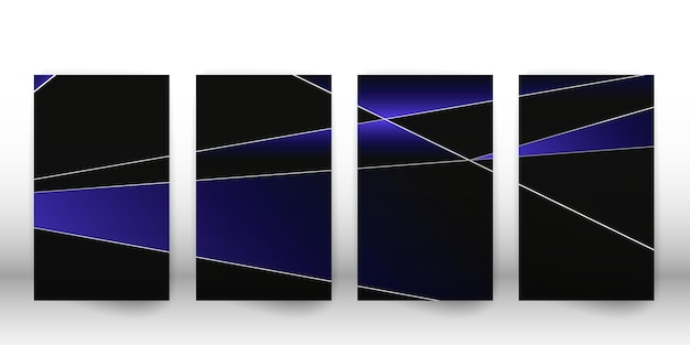 Abstraktes polygonales muster. luxuriöses dunkles cover-design mit geometrischen silbernen formen. polygon-cover-vorlage. vektor-illustration.