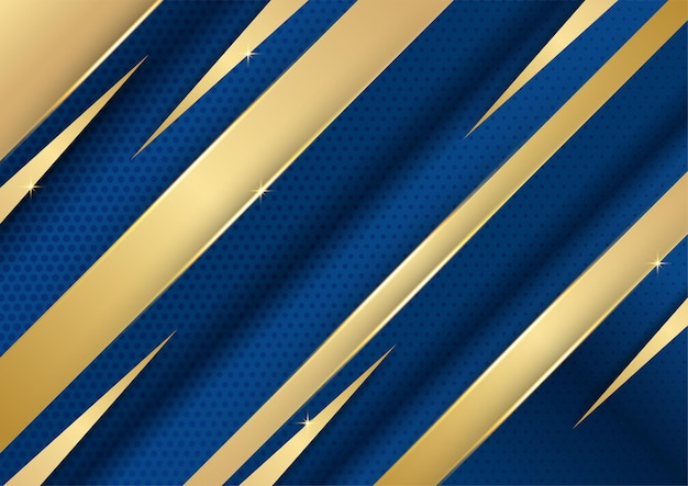 Abstraktes polygonales muster luxus dunkelblau mit gold