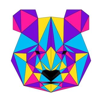 Abstraktes polygonales pandabärenporträt. moderner low-poly-panda-bärenkopf einzeln auf weiß für karte, tierklinik-plakat, moderne partyeinladung, buch, poster, taschendruck, t-shirt usw.