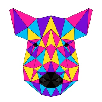Abstraktes polygonales wildschweinporträt. moderner low-poly-schweinkopf einzeln auf weiß für karte, tierklinikplakat, moderne partyeinladung, buch, poster, taschendruck, t-shirt usw.