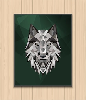 Abstraktes polygonales wolfkopfdesign