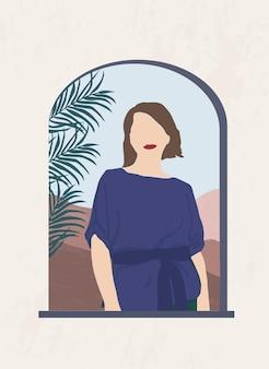 Abstraktes porträt einer frau in einem rundbogenfenster vor einer berglandschaft