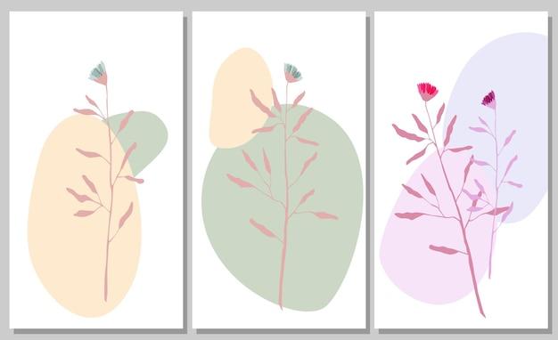 Abstraktes poster mit pflanzen und formen abstrakte illustration mit blättern und kreisen s