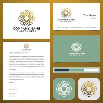 Abstraktes premium-luxus-logo-design und visitenkarte