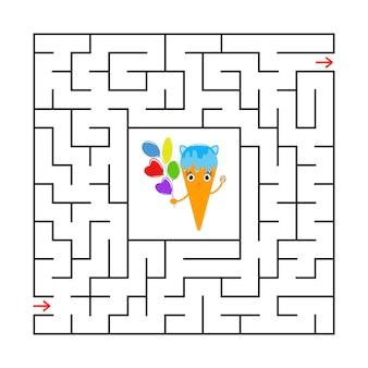 Abstraktes quadratisches labyrinth mit einer niedlichen farbkarikaturfigur.