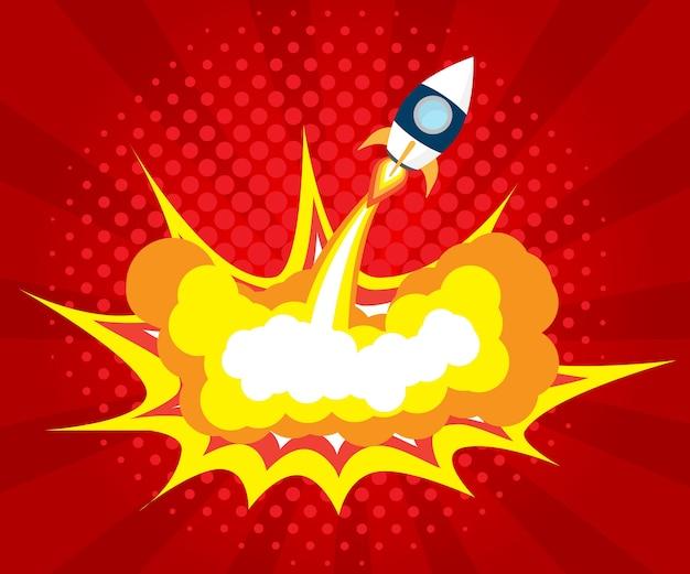 Abstraktes raketenstart-boom-comic-buch