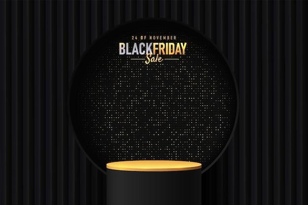 Abstraktes realistisches 3d-zylinderstandpodest in schwarz und gold mit goldenem glitzer im kreisfenster