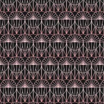 Abstraktes roségoldförmiges nahtloses art-deco-muster