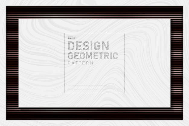 Abstraktes roségoldmetallisches linienmuster mit weißem marmorhintergrund.