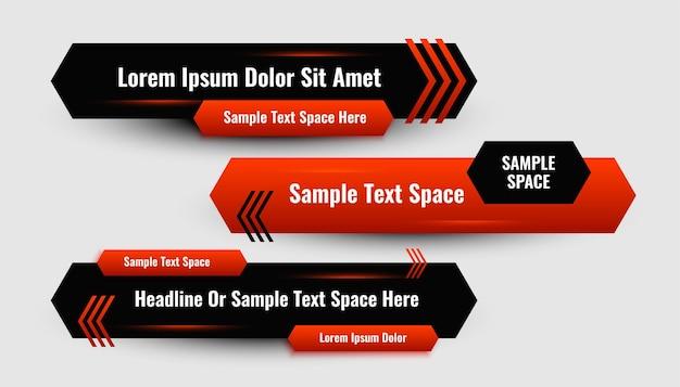 Abstraktes rotes geometrisches modernes bannerdesign im unteren drittel