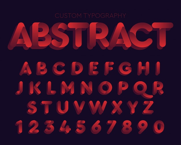 Abstraktes rotes kurventypographiedesign