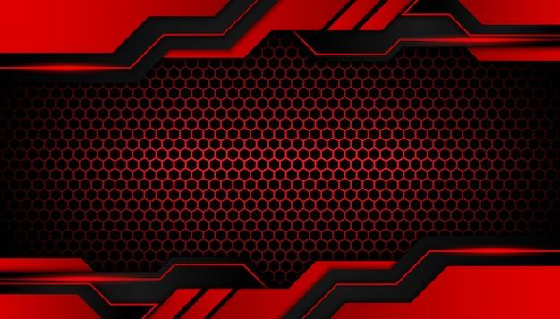 Abstraktes rotes licht auf dunklem hexagonluxus
