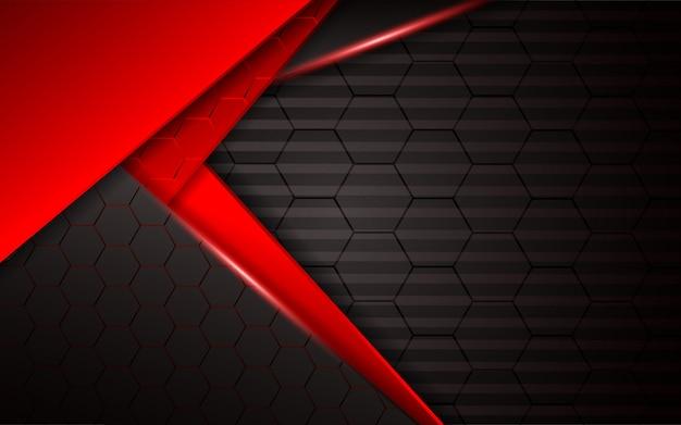 Abstraktes rotes licht auf hexagondunkelheitshintergrund