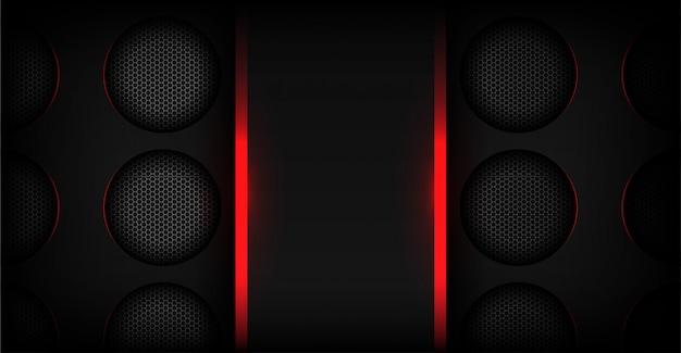 Abstraktes rotes licht mit dunklem metallischem technologiehintergrund