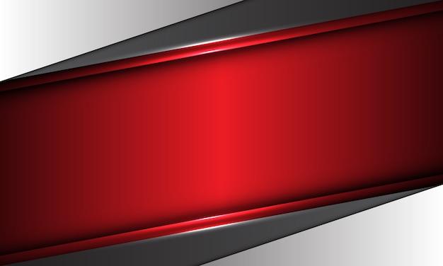 Abstraktes rotes metallisches banner auf modernem futuristischem hintergrund des grauen entwurfs.