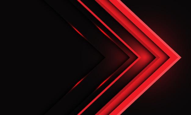 Abstraktes rotes metallisches pfeillicht auf schwarz mit modernem futuristischem hintergrund des leerraumdesigns