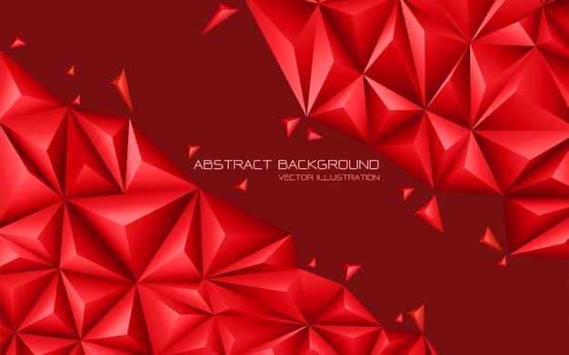 Abstraktes rotes tondreieck 3d moderner futuristischer hintergrund.