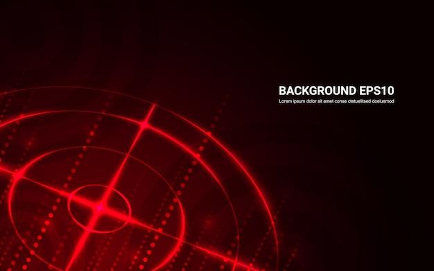 Abstraktes rotes ziel, schießstand auf schwarzem hintergrund.
