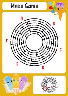 Abstraktes rundes labyrinth. Premium Vektoren