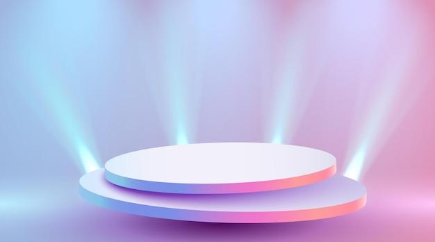 Abstraktes rundes podium beleuchtet mit scheinwerfer-preisverleihungskonzept bühnenhintergrund