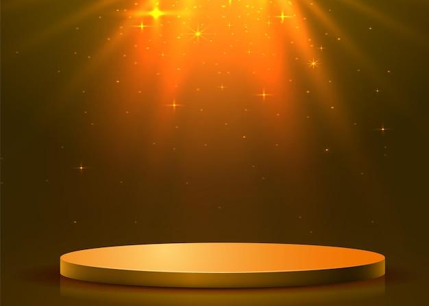 Abstraktes rundes podium mit scheinwerfer beleuchtet. preisverleihungskonzept. bühnenhintergrund. vektorillustration