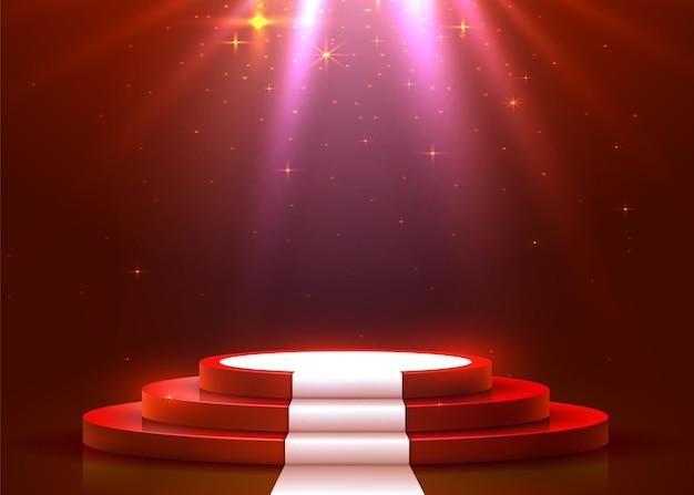 Abstraktes rundes podium mit weißem teppich beleuchtet mit scheinwerfer. preisverleihungskonzept. bühnenhintergrund. vektorillustration