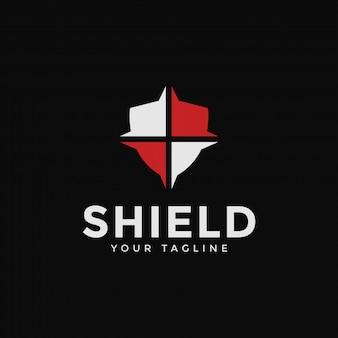 Abstraktes schild, sicherheit, verteidigung, schutz logo design