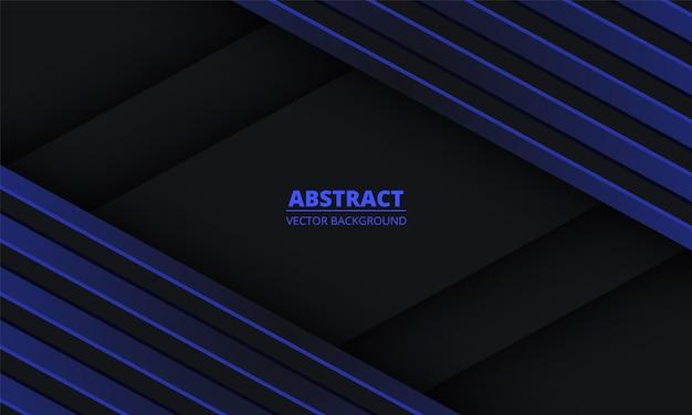 Abstraktes schwarz mit blauen diagonalen linien auf leerzeichen.